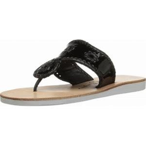 Jack Rogers Black Patent Leather Boating Sandals